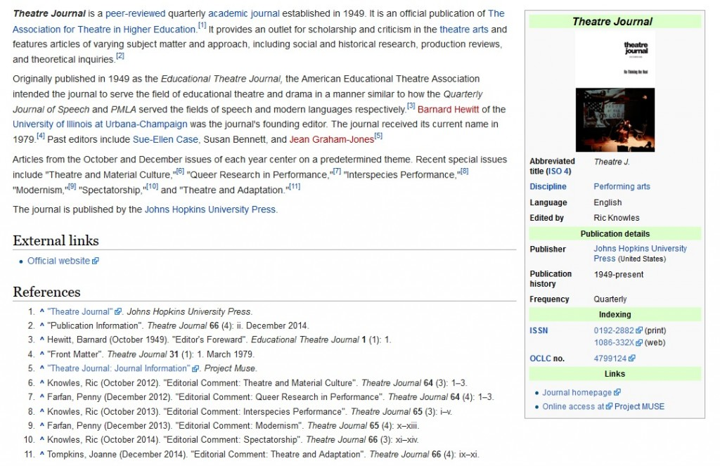 Josephpaulhilll revision to Theatre Journal Wikipedia page